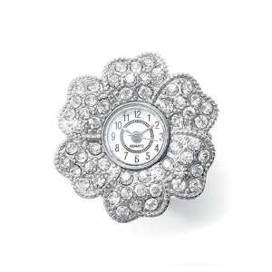 Mariell ~ Pave Crystal Flower Stretch Watch Ring Jewelry