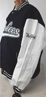 New MLB Reversible New York Yankees Wool Blend NY Jacket w/ Leather