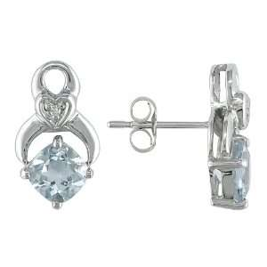10k White Gold, Diamond and Aquamarine Earrings, (.01 cttw