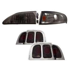 Mustang Smoke Halo Projector Headlights /w Amber + Tail Lights Combo