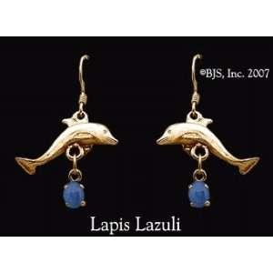 Dolphin Gemstone Earrings, 14k Yellow Gold, Lapis Lazuli set gemstone