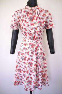 Vtg 60s MOD Floral Autumn Trees Country Swing DRESS