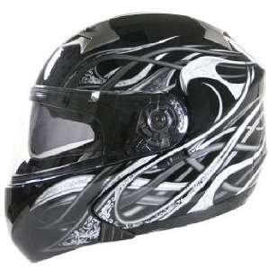 Hawk ST 22 Dual Visor Modular Motorcycle Helmet with Grey Metal Veins