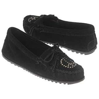 Minnetonka Moccasin Peace Sign Fringe Moc Black Suede Shoes