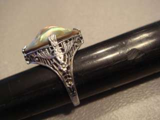 Sterling Silver Filigree Ladies Ring w/ Abalone Shell