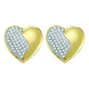 Gold 1/4 ct. Micro Pave Set Diamond Heart Earrings Katarina Jewelry