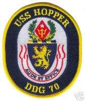 USN NAVY USS HOPPER DDG 70 MILITARY CREW SHIP PATCH