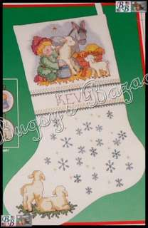 Dimensions LITTLEST DRUMMER STOCKING Nativity Christmas Stamped Cross
