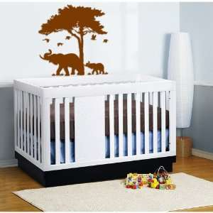 Vinyl Wall Decal Tree with Mommy Elephant and Baby and Birds Safari