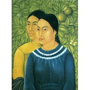 Oil Painting Two Women Frida Kahlo Hand Painted Art Home & Kitchen