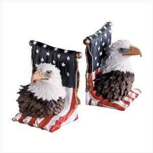 AMERICAN FLAG PATRIOTIC EAGLE HEAD BOOK ENDS BOOKENDS Home & Kitchen