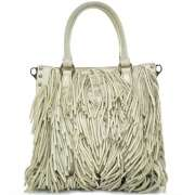 PRADA Nappa Leather Small Fringe Tote w Strap Cera