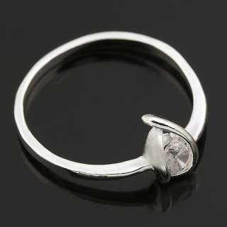 Silver Plated Simple Women Wedding Ring Pure CZ SZ 9