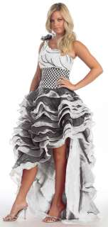 Prom One Shoulder Short Long Tiered Skirt Dress Gown #5767 Wedding