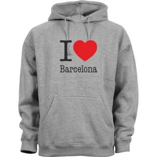 LOVE BARCELONA HOODIE HELLGRAU I LOVE BARCELONA PULLI HOODED