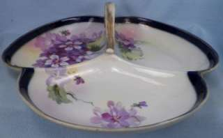 Lovely VIOLET FLOWERS DIVIDED CANDY DISH Porcelain HAND PAINTED NIPPON