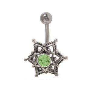 Antique Star Belly Button Ring Light Green Cz Gem Jewelry