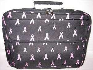 NEW BLACK / PINK RIBBON 17INCH LAPTOP CASE BAG W/STRAP