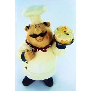 Fat Chef Statue Bistro Cooking Holding Cake Kitchen Figure
