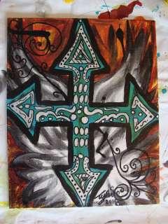 Original Gothic Cross Angel Wing Painting