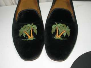 Womens Black Velvet Shoes Slippers sz 10 EMBROIDERED PALM TREES