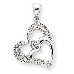 Double Heart Diamond Pendant in 14k Yellow Gold Jewelry