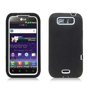 Black White Double Layer Hybrid Case Heavy Duty Cover for