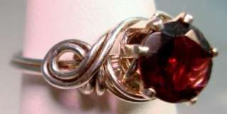 Handmade Genuine Natural Garnet Sterling Wire Wrap Ring Size 5 3/4 to