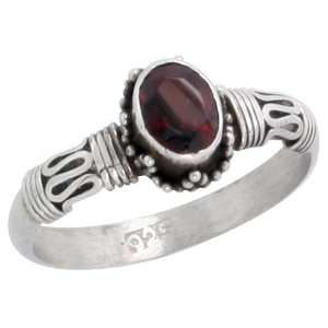 Sterling Silver Bali Style Ring, w/ 7 x 5 mm Oval Cut Natural Garnet