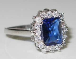 Estate 2.00ctw Radiant Blue & White Sapphire 925 Sterling Silver Ring