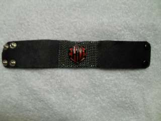 HARLEY WOMENS CHAIN AND LEATHER CUFF BRACELET ARMBAND