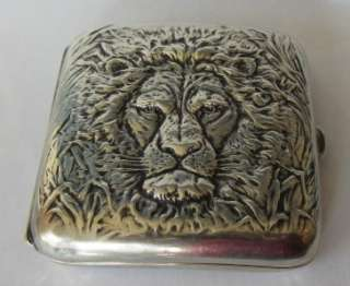 Antique Webster Sterling Silver Lion Cigarette Case RARE