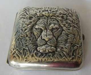 Antique Webster Sterling Silver Lion Cigarette Case RARE