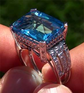 Vintage Estate 13.35 Carat Natural VVS Swiss Blue Topaz Diamond Ring