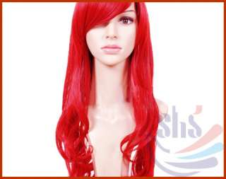 Long Wavy Curly Cosplay Party Hair Womens Full Wig/Wigs Red