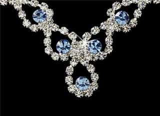 Sparkling Light Blue Crystal Necklace And Earring Set New