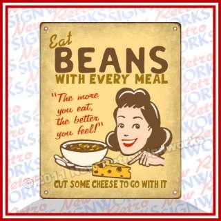 Eat Beans Fart Joke Sign Gag Gift Vintage Farts Get Gas Prank Novelty