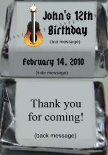 ROCK STAR MUSIC Candy Wrappers Kiss Labels PARTY FAVORS