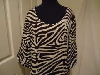 Michael Kors Womens Silk Plus Size Brown and White Animal Print Tunic
