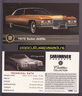 1972 CADILLAC SEDAN DEVILLE & COUPE Car And Driver CARD