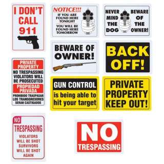 10pc Warning Sign Set Gun Owner No Trespassing Private Property Home