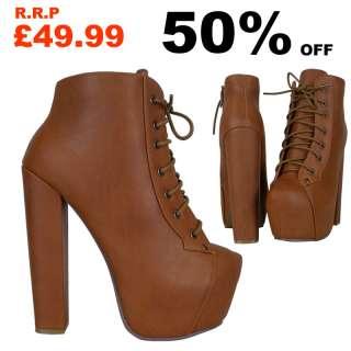 B3C Womens Tan Lace Up Platform High Block Heel Ladies Ankle Shoes