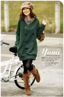 New KOREA Fashion Womens Autum Grid Knitting Top Long Coat Jacket 3