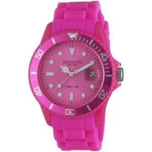 Madison New York Unisex Armbanduhr Candy Time Analog Silikon rosa
