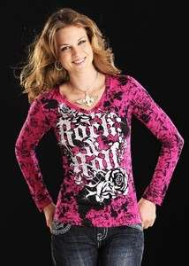 and Roll Cowgirl HOT PINK V NECK JERSEY LONG SLEEVE TOP 48 7026 ROSE