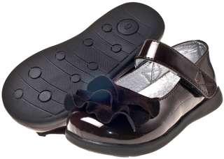 Girls Kids Toddler Children Infant Patent Leather & Suede Shoes   Dark
