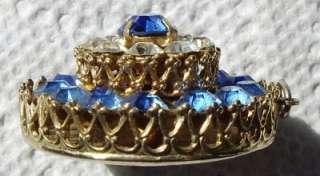 PEGASUS Prong Set Blue & Clear Rhinestone~3 Tier~ PENDANT 4 Necklace