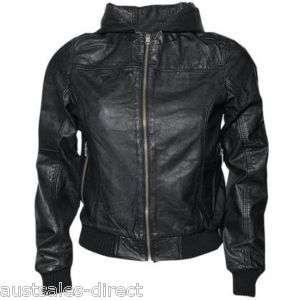 Ladies Womans Black Leather Hooded Hoodie Bomber Jacket