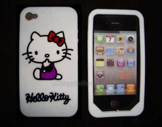 White Silicone Hello Kitty Case Cover for iPhone 4 4G 1