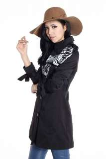 New Black Fasion Double Breasted Belt Bow Womens Ladies Trench Coat Sz